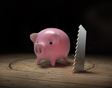Saw in wood floor trying to steal a piggy bank